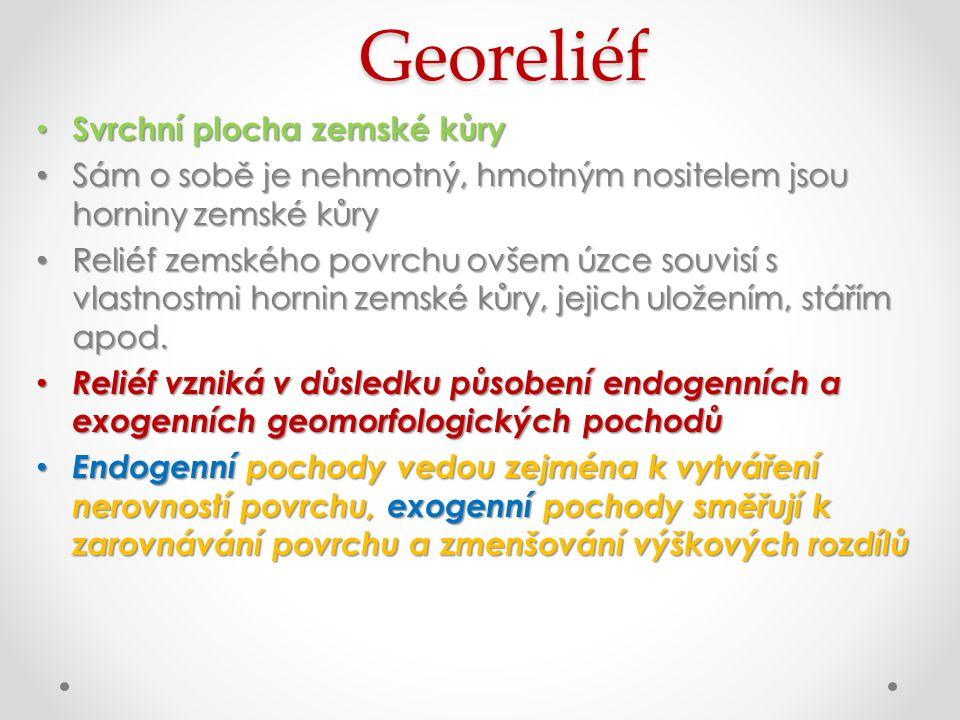 Georeliéf Svrchní plocha zemské kůry Svrchní plocha zemské kůry Sám o sobě je nehmotný, hmotným nositelem jsou horniny zemské kůry Sám o sobě je nehmo