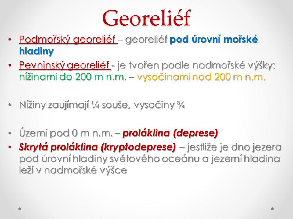 Georeliéf Podmořský georeliéf – georeliéf pod úrovní mořské hladiny Podmořský georeliéf – georeliéf pod úrovní mořské hladiny Pevninský georeliéf - je