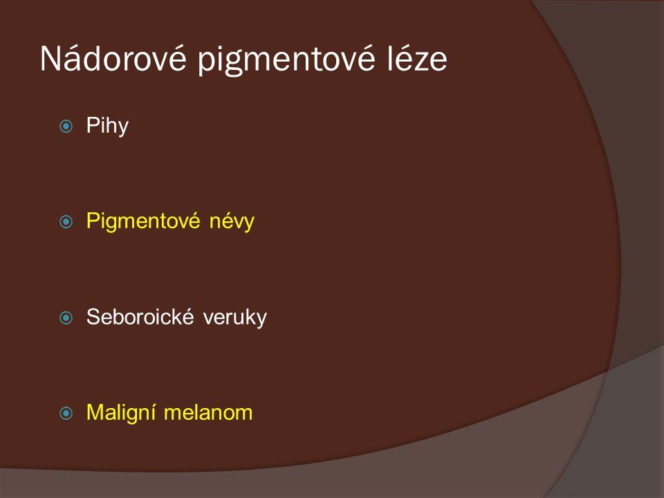 Nádorové pigmentové léze  Pihy  Pigmentové névy  Seboroické veruky  Maligní melanom