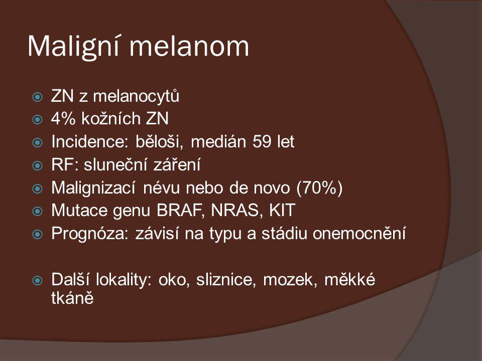 Maligní melanom  ZN z melanocytů  4% kožních ZN  Incidence: běloši, medián 59 let  RF: sluneční záření  Malignizací névu nebo de novo (70%)  Mut