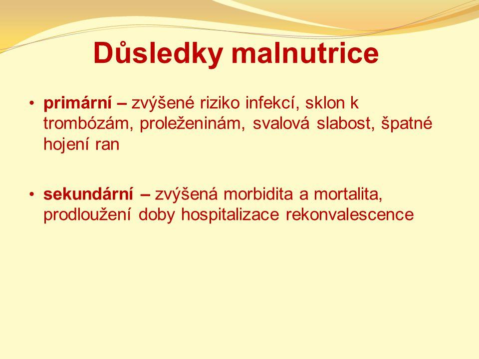 Důsledky malnutrice primární – zvýšené riziko infekcí, sklon k trombózám, proleženinám, svalová slabost, špatné hojení ran sekundární – zvýšená morbidita a mortalita, prodloužení doby hospitalizace rekonvalescence