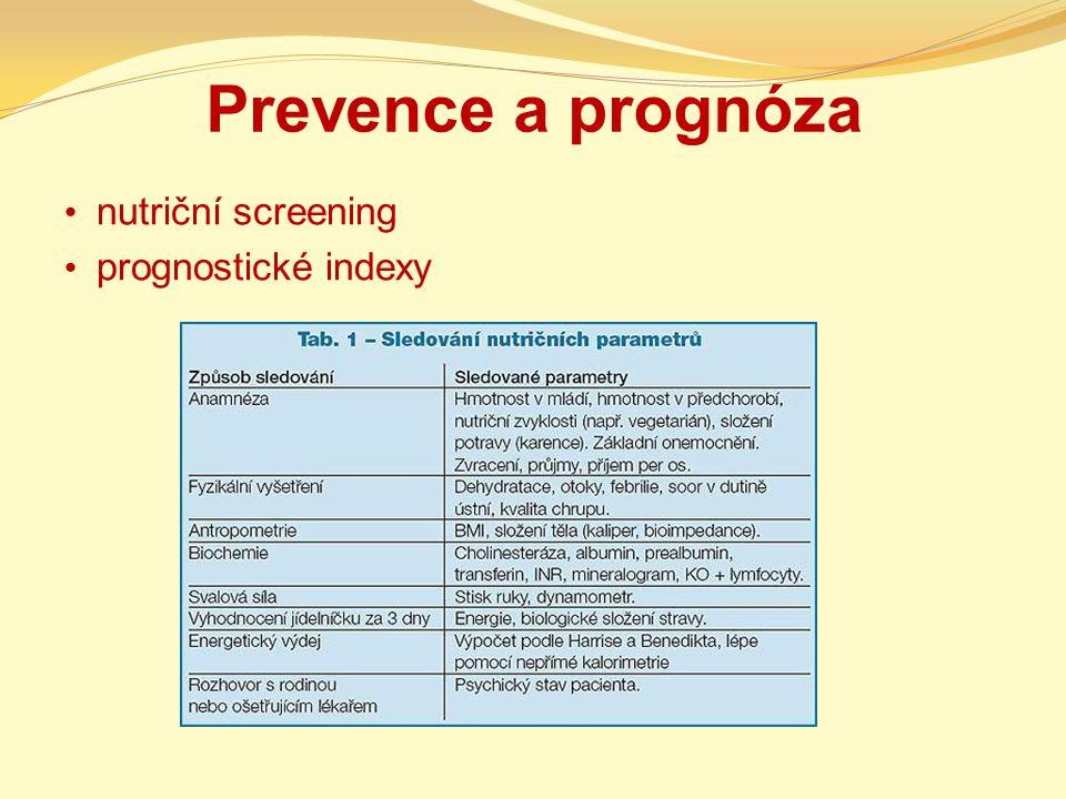 Prevence a prognóza nutriční screening prognostické indexy