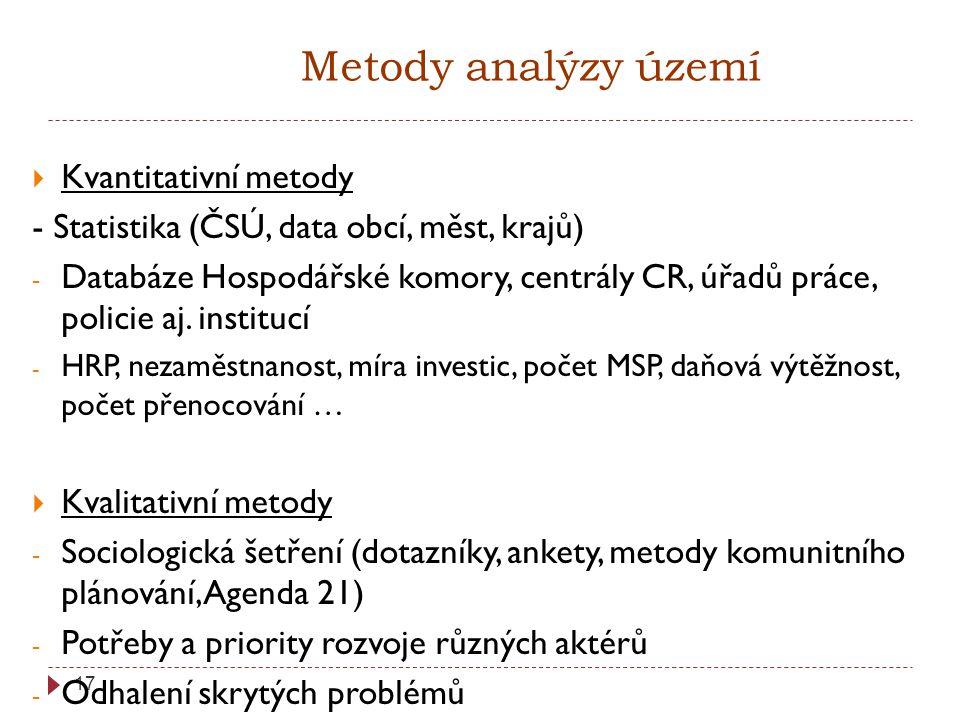 17 Metody analýzy území  Kvantitativní metody - Statistika (ČSÚ, data obcí, měst, krajů) - Databáze Hospodářské komory, centrály CR, úřadů práce, policie aj.