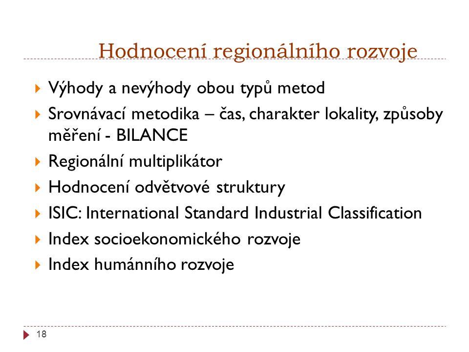 18 Hodnocení regionálního rozvoje  Výhody a nevýhody obou typů metod  Srovnávací metodika – čas, charakter lokality, způsoby měření - BILANCE  Regionální multiplikátor  Hodnocení odvětvové struktury  ISIC: International Standard Industrial Classification  Index socioekonomického rozvoje  Index humánního rozvoje