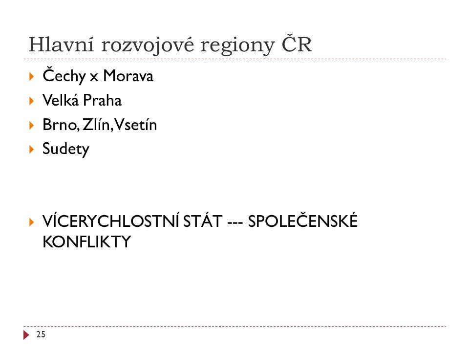 Hlavní rozvojové regiony ČR  Čechy x Morava  Velká Praha  Brno, Zlín, Vsetín  Sudety  VÍCERYCHLOSTNÍ STÁT --- SPOLEČENSKÉ KONFLIKTY 25