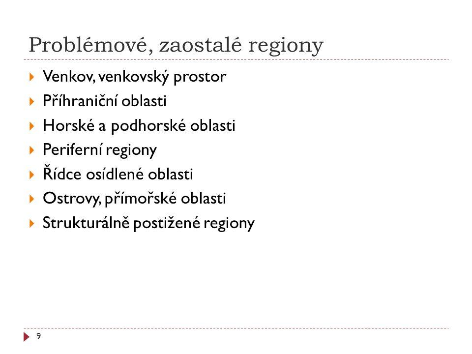 Problémové, zaostalé regiony 9  Venkov, venkovský prostor  Příhraniční oblasti  Horské a podhorské oblasti  Periferní regiony  Řídce osídlené oblasti  Ostrovy, přímořské oblasti  Strukturálně postižené regiony