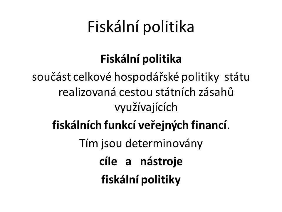 součást celkové hospodářské politiky státu realizovaná cestou státních zásahů využívajících fiskálních funkcí veřejných financí.