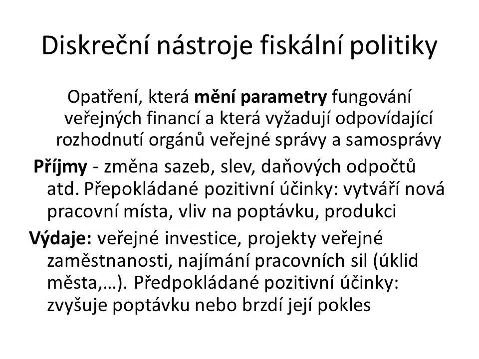 Diskreční nástroje fiskální politiky Opatření, která mění parametry fungování veřejných financí a která vyžadují odpovídající rozhodnutí orgánů veřejné správy a samosprávy Příjmy - změna sazeb, slev, daňových odpočtů atd.