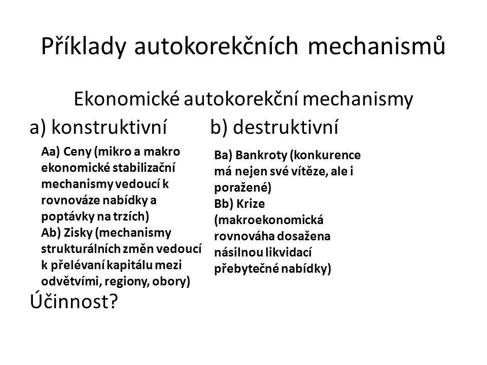 Příklady autokorekčních mechanismů Ekonomické autokorekční mechanismy a) konstruktivní b) destruktivní Účinnost.