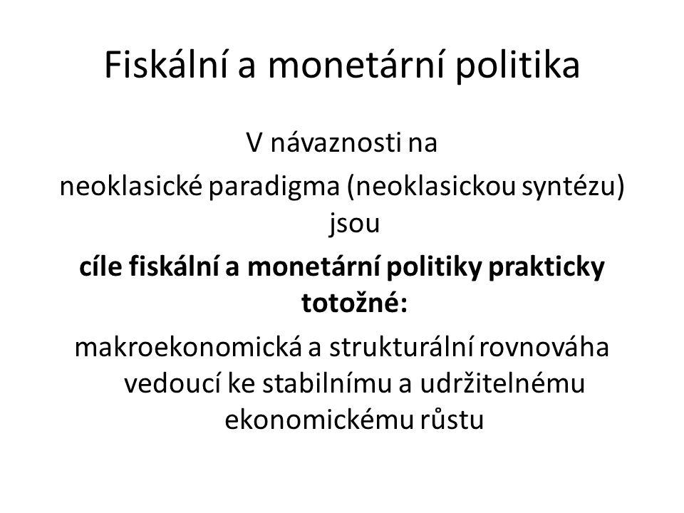 V návaznosti na neoklasické paradigma (neoklasickou syntézu) jsou cíle fiskální a monetární politiky prakticky totožné: makroekonomická a strukturální rovnováha vedoucí ke stabilnímu a udržitelnému ekonomickému růstu