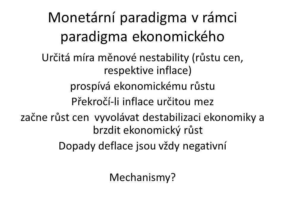 Monetární paradigma v rámci paradigma ekonomického Určitá míra měnové nestability (růstu cen, respektive inflace) prospívá ekonomickému růstu Překročí-li inflace určitou mez začne růst cen vyvolávat destabilizaci ekonomiky a brzdit ekonomický růst Dopady deflace jsou vždy negativní Mechanismy?