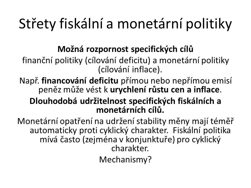Střety fiskální a monetární politiky Možná rozpornost specifických cílů finanční politiky (cílování deficitu) a monetární politiky (cílování inflace).