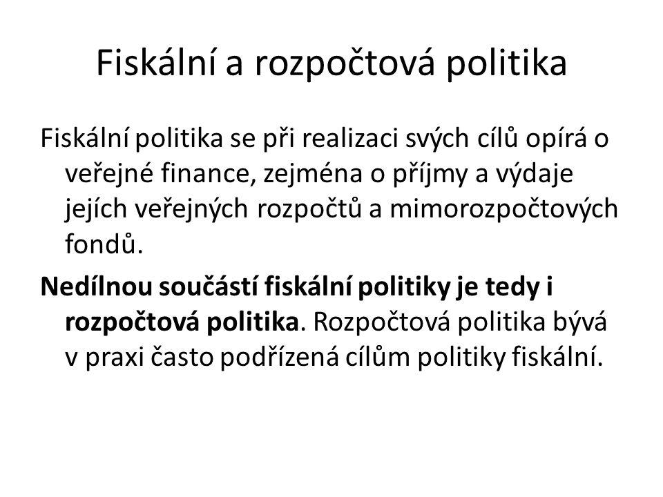 Fiskální politika se při realizaci svých cílů opírá o veřejné finance, zejména o příjmy a výdaje jejích veřejných rozpočtů a mimorozpočtových fondů.