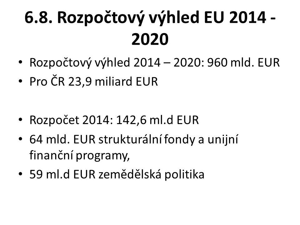 6.8.Rozpočtový výhled EU 2014 - 2020 Rozpočtový výhled 2014 – 2020: 960 mld.
