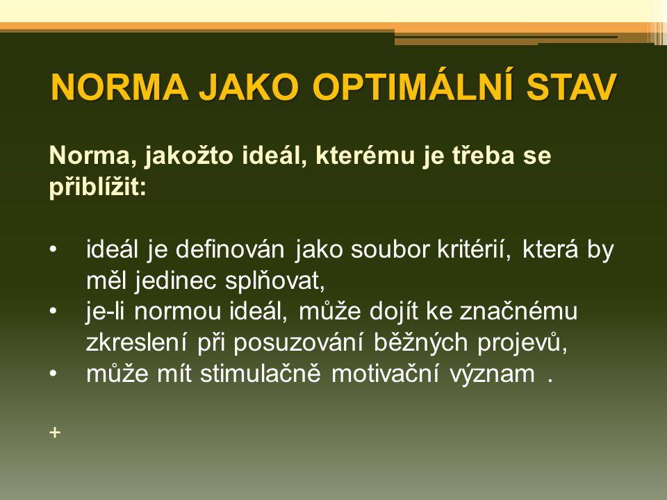 NORMA JAKO OPTIMÁLNÍ STAV Norma, jakožto ideál, kterému je třeba se přiblížit: ideál je definován jako soubor kritérií, která by měl jedinec splňovat,