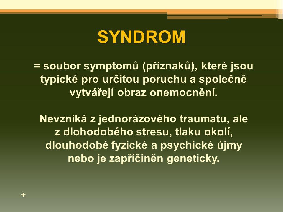 SYNDROM = soubor symptomů (příznaků), které jsou typické pro určitou poruchu a společně vytvářejí obraz onemocnění. Nevzniká z jednorázového traumatu,
