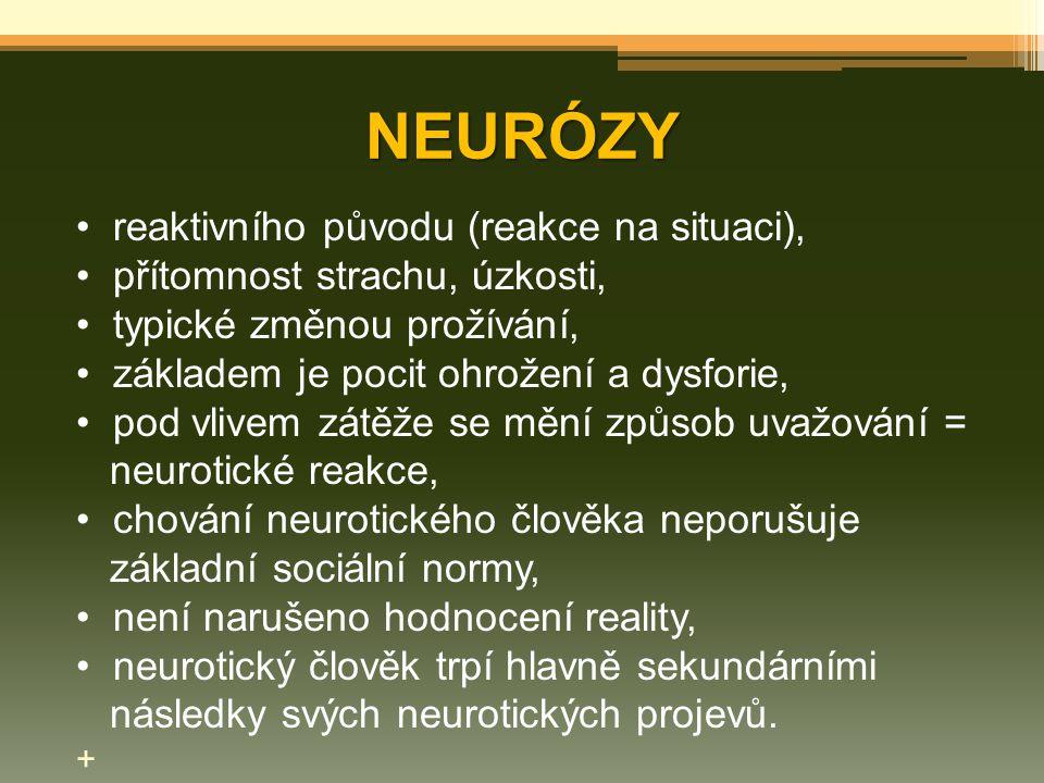 NEURÓZY reaktivního původu (reakce na situaci), přítomnost strachu, úzkosti, typické změnou prožívání, základem je pocit ohrožení a dysforie, pod vliv