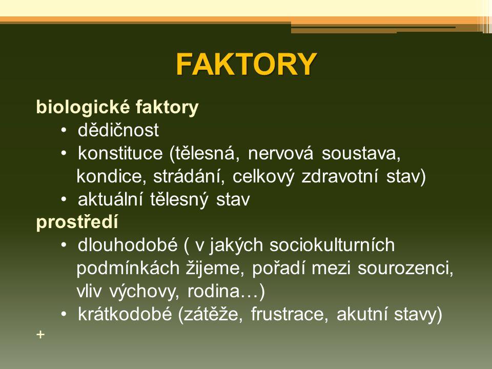 FAKTORY biologické faktory dědičnost konstituce (tělesná, nervová soustava, kondice, strádání, celkový zdravotní stav) aktuální tělesný stav prostředí