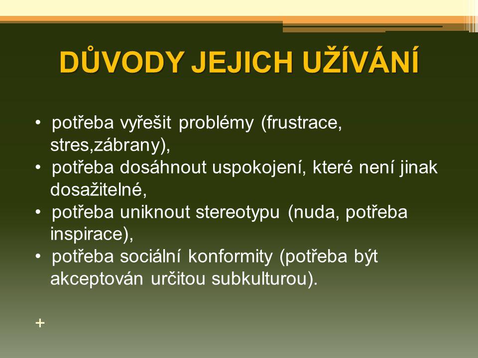 DŮVODY JEJICH UŽÍVÁNÍ potřeba vyřešit problémy (frustrace, stres,zábrany), potřeba dosáhnout uspokojení, které není jinak dosažitelné, potřeba uniknou