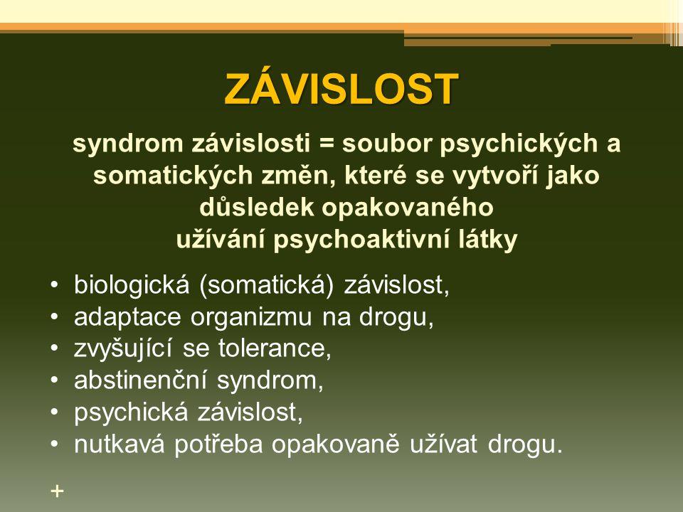 ZÁVISLOST syndrom závislosti = soubor psychických a somatických změn, které se vytvoří jako důsledek opakovaného užívání psychoaktivní látky biologick