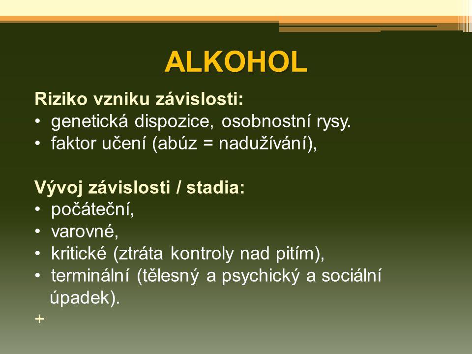 ALKOHOL Riziko vzniku závislosti: genetická dispozice, osobnostní rysy. faktor učení (abúz = nadužívání), Vývoj závislosti / stadia: počáteční, varovn