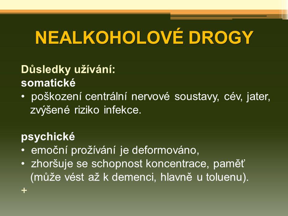 NEALKOHOLOVÉ DROGY Důsledky užívání: somatické poškození centrální nervové soustavy, cév, jater, zvýšené riziko infekce. psychické emoční prožívání je