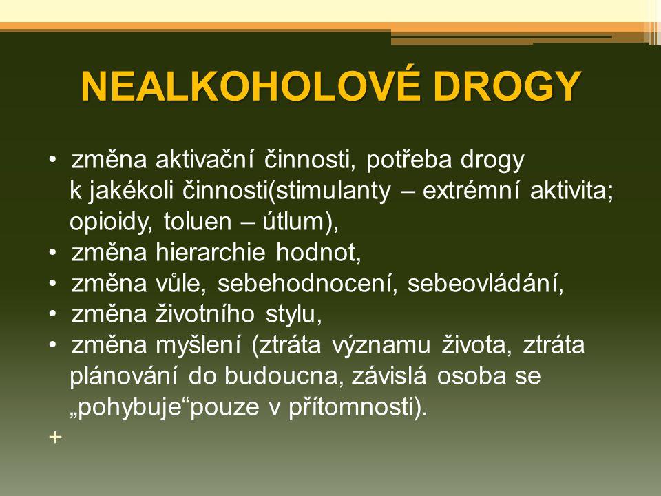 NEALKOHOLOVÉ DROGY změna aktivační činnosti, potřeba drogy k jakékoli činnosti(stimulanty – extrémní aktivita; opioidy, toluen – útlum), změna hierarc