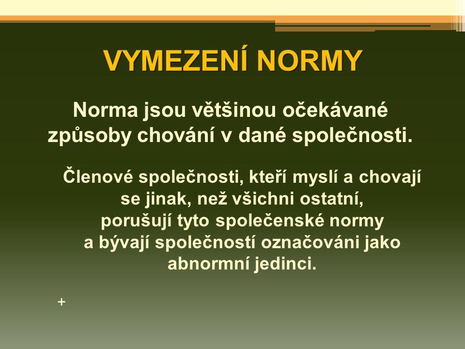 VYMEZENÍ NORMY Norma jsou většinou očekávané způsoby chování v dané společnosti. Členové společnosti, kteří myslí a chovají se jinak, než všichni osta