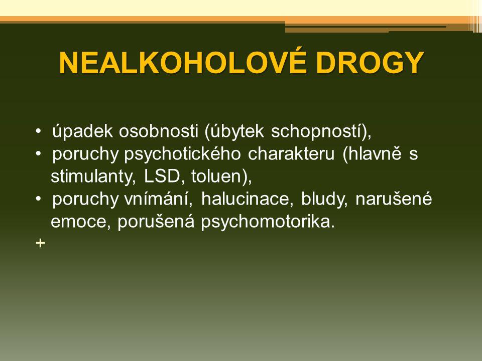 NEALKOHOLOVÉ DROGY úpadek osobnosti (úbytek schopností), poruchy psychotického charakteru (hlavně s stimulanty, LSD, toluen), poruchy vnímání, halucin