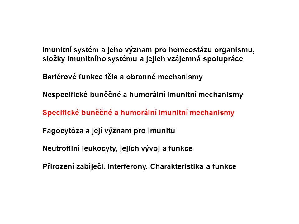 Imunitní systém a jeho význam pro homeostázu organismu, složky imunitního systému a jejich vzájemná spolupráce Bariérové funkce těla a obranné mechani