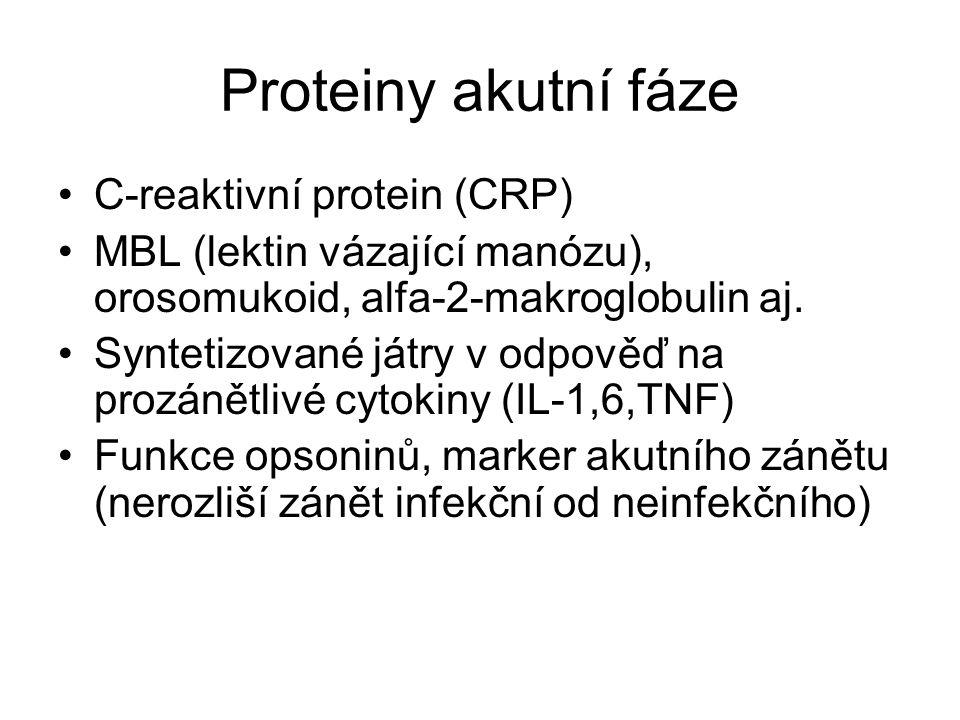 Proteiny akutní fáze C-reaktivní protein (CRP) MBL (lektin vázající manózu), orosomukoid, alfa-2-makroglobulin aj. Syntetizované játry v odpověď na pr