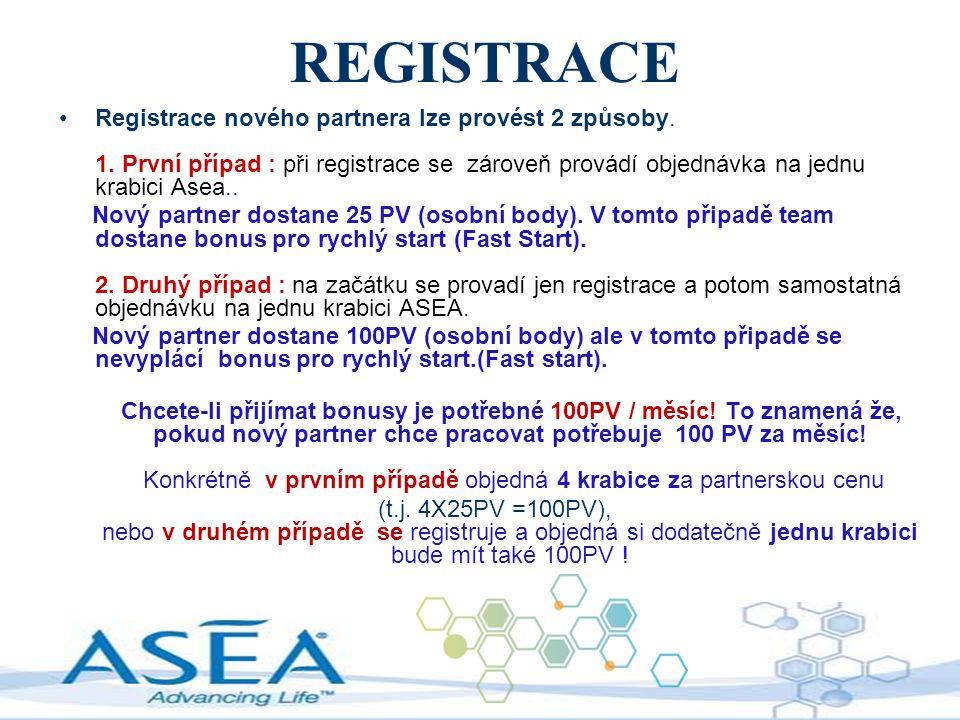 REGISTRACE Registrace nového partnera lze provést 2 způsoby. 1. První případ : při registrace se zároveň provádí objednávka na jednu krabici Asea.. No