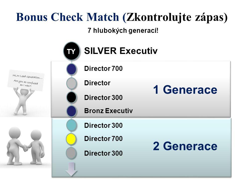 2 Generace 1 Generace Bonus Check Match (Zkontrolujte zápas) 7 hlubokých generací! TY SILVER Executiv Director 700 Director Director 300 Bronz Executi