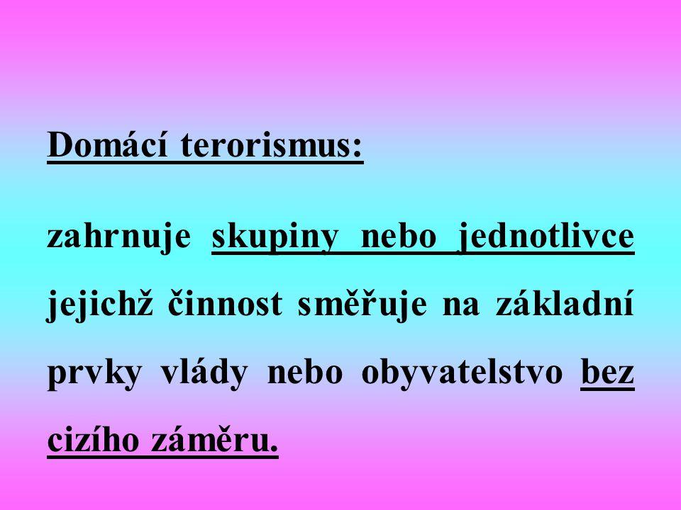 Mezinárodní terorismus zahrnuje skupiny nebo jednotlivce jejichž činnost je založena na cizím vlivu na území nebo je směřována na občany žijící v zahraničí.