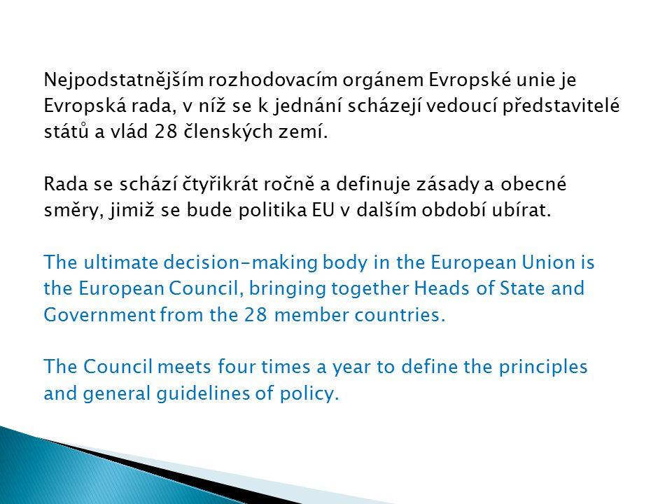 Nejpodstatnějším rozhodovacím orgánem Evropské unie je Evropská rada, v níž se k jednání scházejí vedoucí představitelé států a vlád 28 členských zemí.