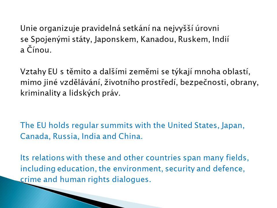 Unie organizuje pravidelná setkání na nejvyšší úrovni se Spojenými státy, Japonskem, Kanadou, Ruskem, Indií a Čínou.
