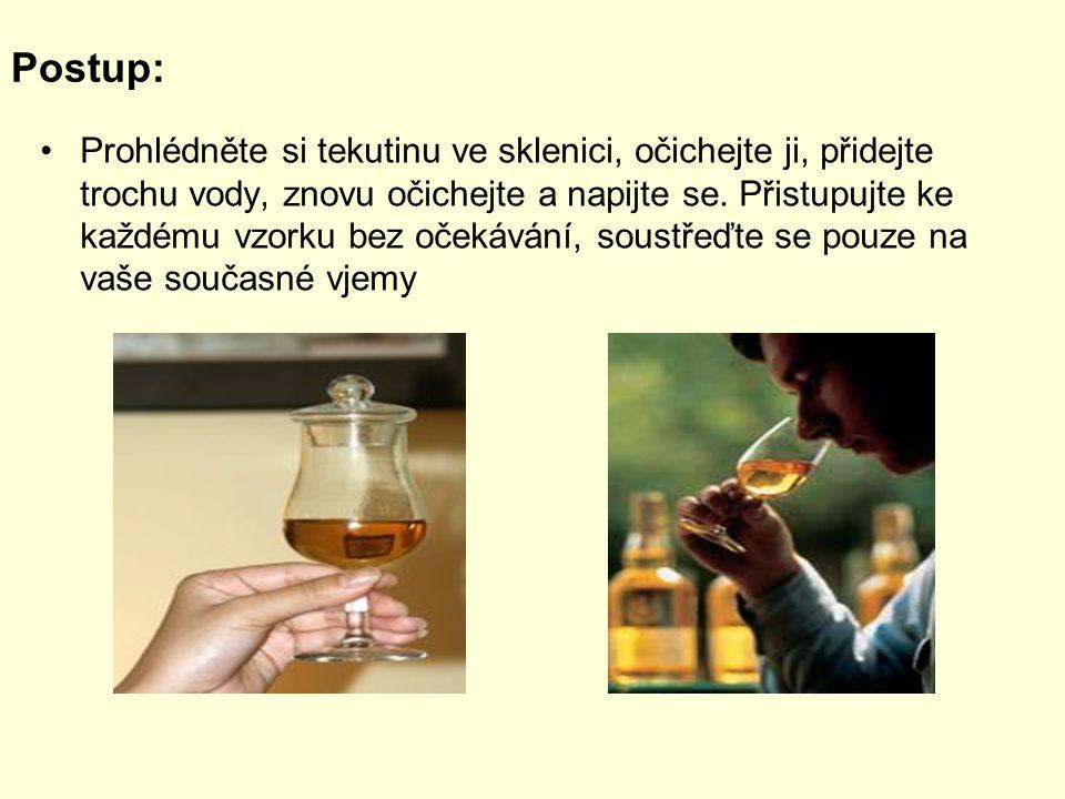 Postup: Prohlédněte si tekutinu ve sklenici, očichejte ji, přidejte trochu vody, znovu očichejte a napijte se. Přistupujte ke každému vzorku bez očeká