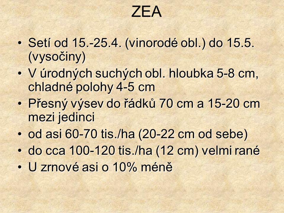 Setí od 15.-25.4.(vinorodé obl.) do 15.5. (vysočiny)Setí od 15.-25.4.