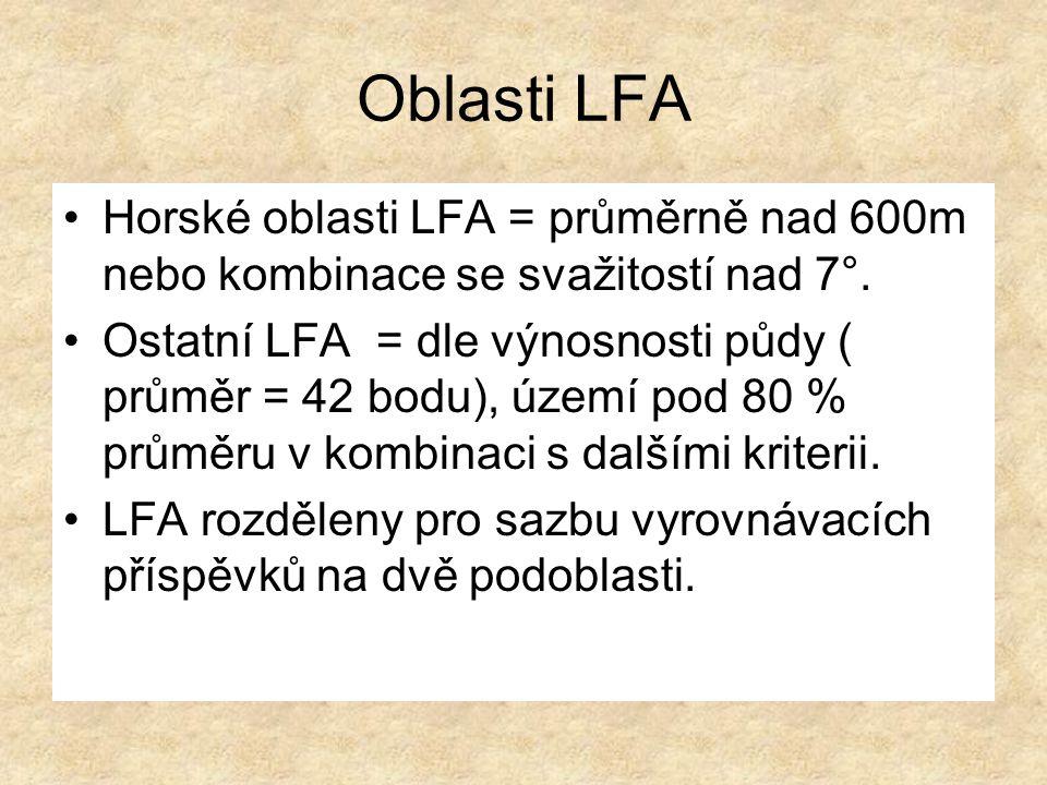 Horské oblasti LFA = průměrně nad 600m nebo kombinace se svažitostí nad 7°.