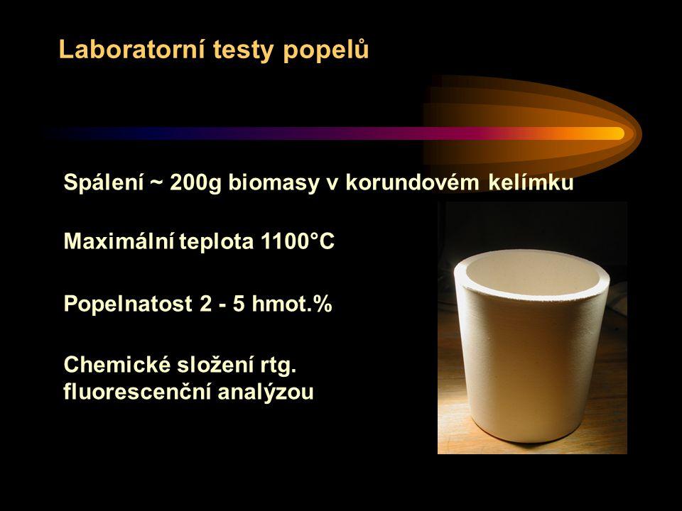 Laboratorní testy popelů Spálení ~ 200g biomasy v korundovém kelímku Popelnatost 2 - 5 hmot.% Chemické složení rtg.