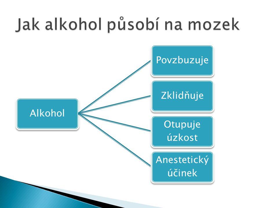 AlkoholPovzbuzujeZklidňuje Otupuje úzkost Anestetický účinek