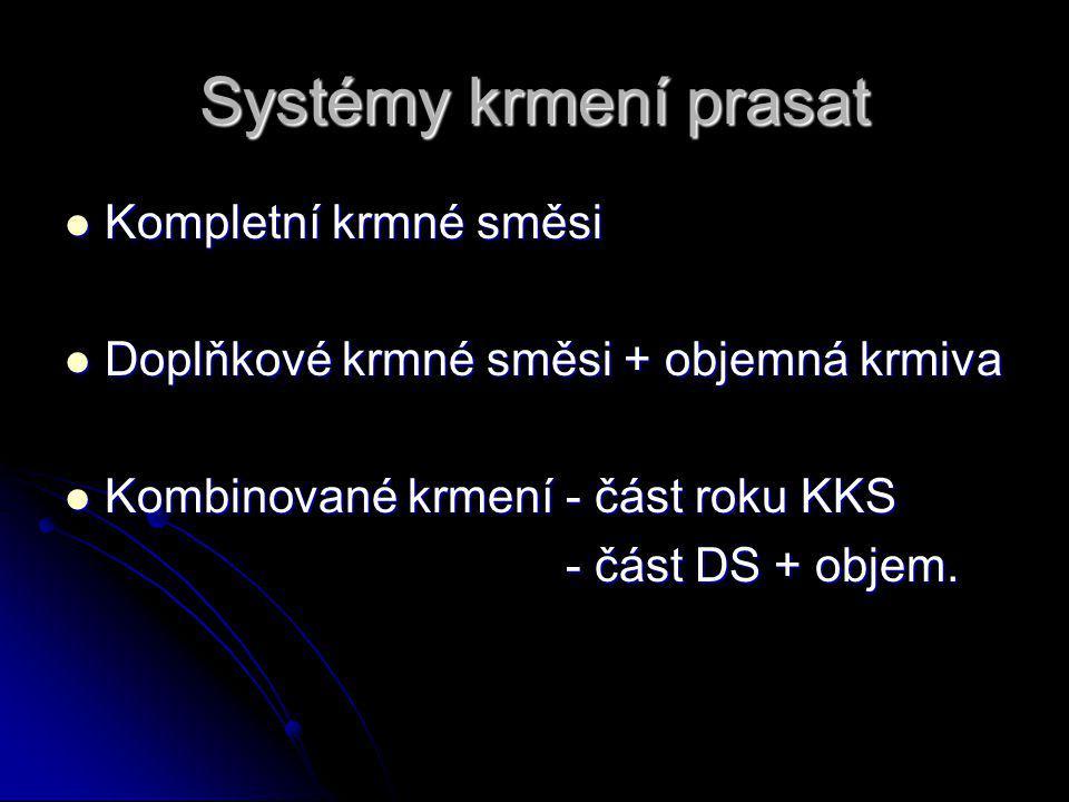 Systémy krmení prasat Kompletní krmné směsi Kompletní krmné směsi Doplňkové krmné směsi + objemná krmiva Doplňkové krmné směsi + objemná krmiva Kombinované krmení - část roku KKS Kombinované krmení - část roku KKS - část DS + objem.