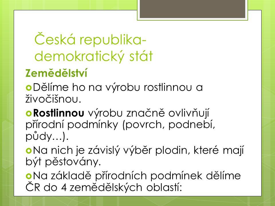 Česká republika- demokratický stát Zápis: - zemědělství dělíme na:1.výrobu rostlinnou 2.výrobu živočišnou -na základě přírodních podmínek dělíme ČR do 4 zemědělských oblastí: 1.kukuřičná-kukuřice, teplomilná zelenina, vinná réva, cukrová řepa 2.řepařská-obilniny, cukrová řepa, brambory 3.bramborářská-brambory,pícniny(jetel, vojtěška),pastviny, louky 4.horská- brambory, len a oves, lesy, louky