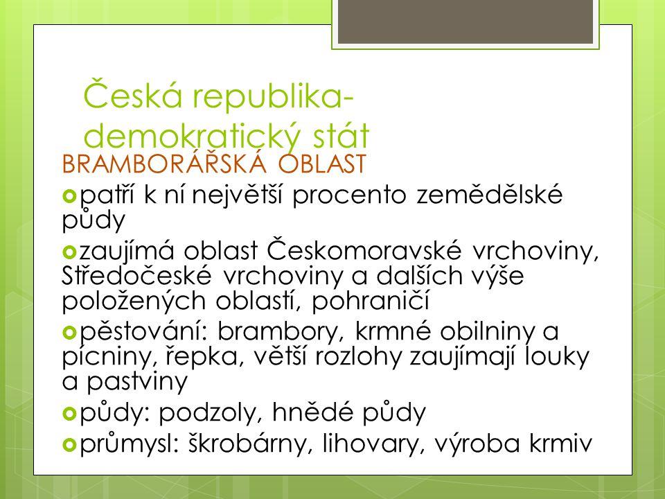Česká republika- demokratický stát BRAMBORÁŘSKÁ OBLAST  patří k ní největší procento zemědělské půdy  zaujímá oblast Českomoravské vrchoviny, Středo
