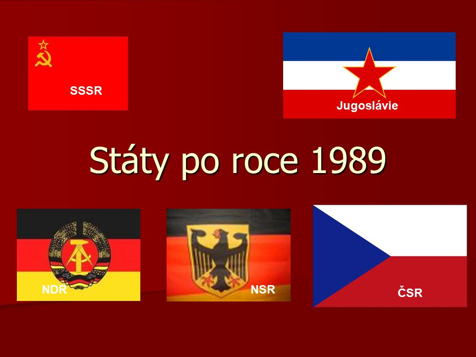 Jak vznikly nové státy po roce 1989 1991 – Rozpad SSSR 1991 – Rozpad SSSR 1991 – Rozpad Jugoslávie 1991 – Rozpad Jugoslávie 1990 – Spojení NDR a NSR 1990 – Spojení NDR a NSR 1993 – Rozpad ČSR 1993 – Rozpad ČSR