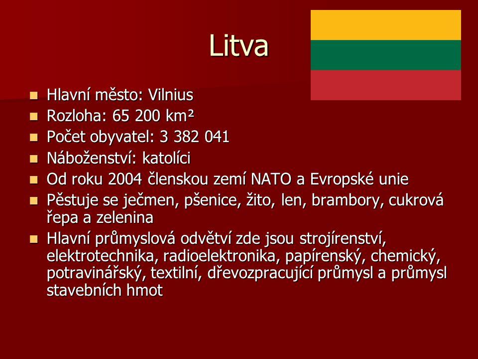Litva Hlavní město: Vilnius Hlavní město: Vilnius Rozloha: 65 200 km² Rozloha: 65 200 km² Počet obyvatel: 3 382 041 Počet obyvatel: 3 382 041 Nábožens