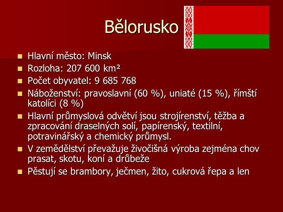 Bělorusko Hlavní město: Minsk Hlavní město: Minsk Rozloha: 207 600 km² Rozloha: 207 600 km² Počet obyvatel: 9 685 768 Počet obyvatel: 9 685 768 Nábože