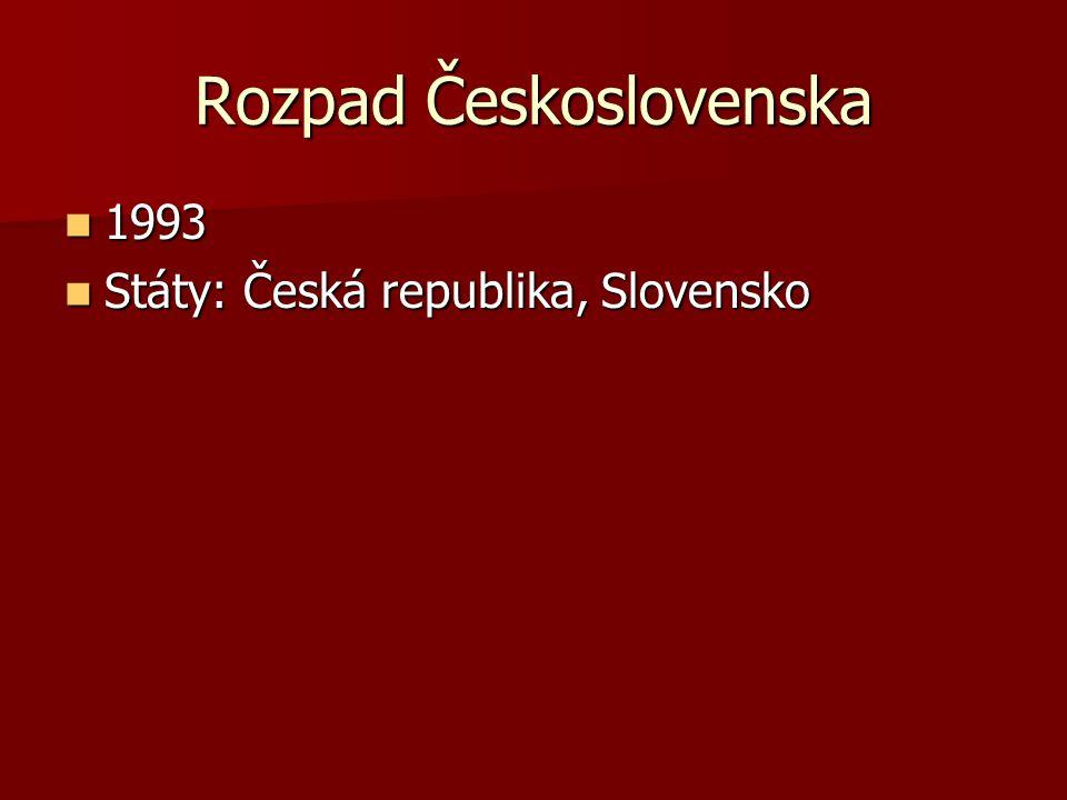 Rozpad Československa 1993 1993 Státy: Česká republika, Slovensko Státy: Česká republika, Slovensko