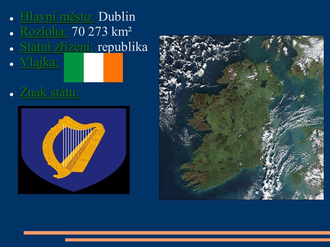 Hlavní město: Hlavní město: Dublin Rozloha: Rozloha: 70 273 km² Státní zřízení: Státní zřízení: republika Vlajka: Vlajka: Znak státu: Znak státu: