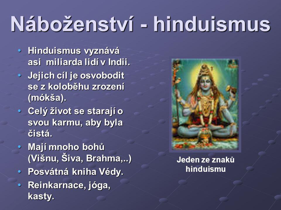 Náboženství - hinduismus  Hinduismus vyznává asi miliarda lidí v Indii.  Jejich cíl je osvobodit se z koloběhu zrození (mókša).  Celý život se star
